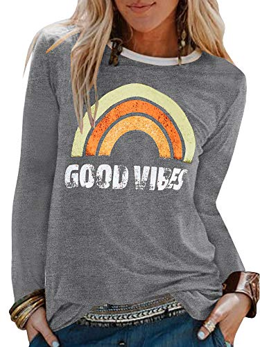 - Umeko Womens Bring On The Sunshine Graphic Tees Letter Printed Casual Loose Summer T-Shirt (Large, 5-Light Grey)
