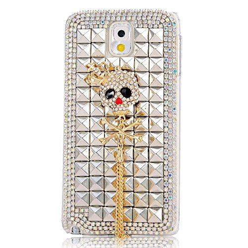 Samsung Note 3 Case- Mavis's Diary 3D Handmade Golden Shiny Bling Cross Crown Skull Pendent with Full Crystal Sparkly Diamond Rhinestone Rivets Design Clear Hard Cover Case for Samsung Galaxy Note3 N9000 N9005 N9006 with Soft Clean Cloth