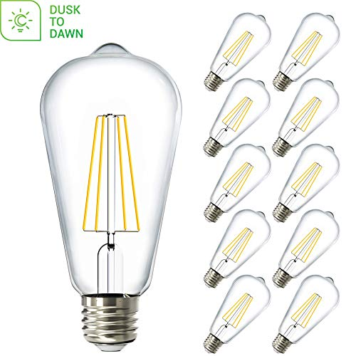 Sunco Lighting 10 Pack ST64 LED Bulb, Dusk-to-Dawn, 7W=60W, 2700K Soft White, Vintage Edison Filament Bulb, 800 LM, E26 Base, Outdoor Decorative String Light - UL, Energy Star