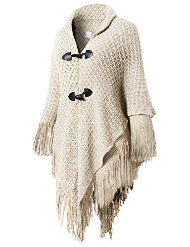 Price comparison product image H2H Womens Casual Tassel Poncho Cape Shawls Batwing Knit Sweater Cloak Ivory US Onesize / Asia Onesize (AWOSWSL01)