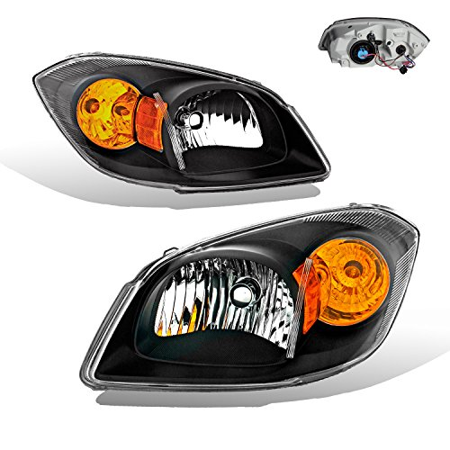 SPPC Headlights Black Assembly for Chevy Cobalt 2/4 Door (Base, Ls, Lt, Ltz Model)- (Pair) Driver Left and Passenger Right Side Replacement Headlamp