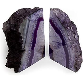 The Royal Gift Shop: Purple Genuine Brazilian Extra Quality Agate Bookends - Home Decor (Purple, 2-3 lbs)
