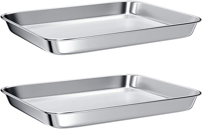 Baking Sheet for Toaster Oven,Stainless Steel Small Toaster Oven Tray,2-Pieces Cookie Sheet Ractangle Size 9 x 7 x 1 inch,Mirror Finish & Anti-Rust,Thick & Sturdy