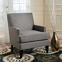 Talette Studded Grey Fabric Club Chair