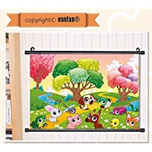 "vanfan Wall Scroll Poster- Cartoon Kids Nursery Room Decor Animals in th Wall Art Waves Paiting on Canvas, Pictures Wall Hanging Canvas Scroll Paintings For Living Room(53""x35"")"