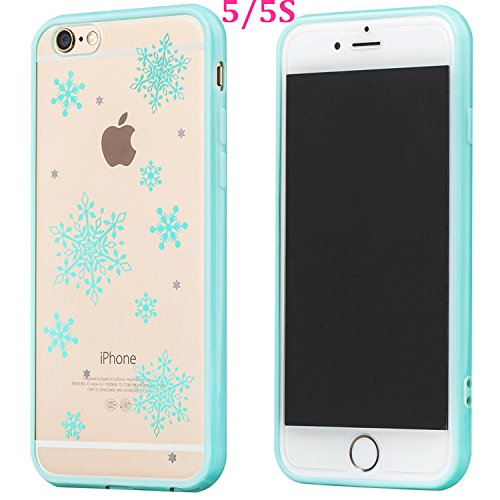 Buyus iPhone 5S / 5 / SE Cases for Girls / Teen Girls / Boys / Women / Men, Clear Crystal Hard Back with Cute Design and Soft Rubber Protective Bumper (Snowflake, Blue)