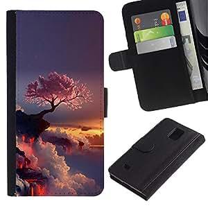 Stuss Case / Funda Carcasa PU de Cuero - Púrpura Árbol japonés - Samsung Galaxy Note 4 IV