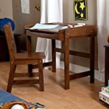 Best Selling Most Popular Childs Kids Toddlers Solid Wood Walnut Finish Work Activity Art Writing Drawing Storage Organizer Desk Chair Furniture Set- Perfect For Young Artists Creative Minds All Ages