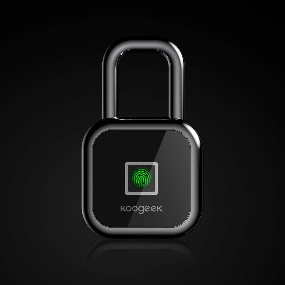 Fingerprint Lock, Koogeek Bluetooth Lock, Keyless Biometric Padlock Works with Apple HomeKit, USB Charging Bag Padlock Suitable for Gym, School, House Door, Office, Cabine, Bike, Backpack, Suitcase