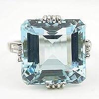 Panwa Jewelry Shop 925 Silver Women Jewelry Aquamarine Gemstone Wedding Bridal Ring Size 6-10 (9)