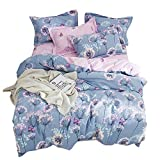 EnjoyBridal Dandelion Girls Boys Duvet Cover Sets Cotton Twin Bed Blue Pink Kids Bedding Cover Sets Zipper 1 Quilt Comforter Cover 2 Pillow Shams 3 Piece Bedding Collection
