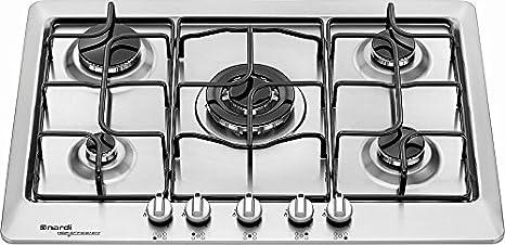 Piano cottura a gas NARDI VH55EAVX 5 fuochi Valvolato con accensione ...