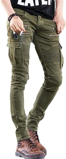chenshiba-JP メンズジーンズモトスリム苦しんだリッピング破壊されたジーンズパンツ