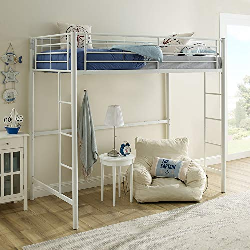 Walker Edison Modern Metal Pipe Twin Size Loft Kids Bunk Bed Bedroom White