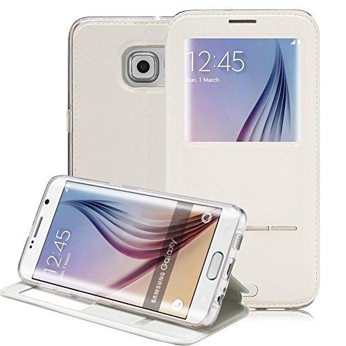Galaxy S6 Edge Plus Case, G-CASE® [Sense II] Sliding to Answer Incoming Calls Flip Smart Wallet Window View PU Leather Back Case for Samsung Galaxy S6 Edge Plus + TJS® Stylus Pen (White) (Mobile Flip Unlock compare prices)