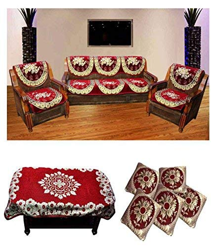 St Decor Store Zeometric 5 Seater Velvet Sofa Cover Sofa Cover And Table Cover With 5 Cushion Cover