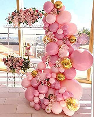 Balloon Garland Arch Kit, Pink Gold Confetti Balloons 102 PCS,Pink and Gold Balloons for Parties, Birthday Wedding Party Balloons Decorations, Baby Shower Decorations for Girl Boy