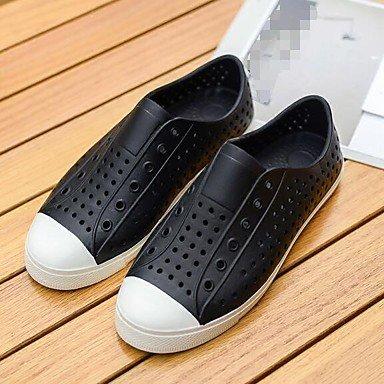 Los hombres sandalias zapatos agujero confort par zapatos casual de resorte de goma gris plana en blanco y negro,blanco Black