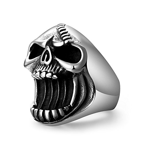 LAOYOU Skull Rings Gothic Biker Punk Antique Surgical Stainless Steel Mens Ring Beer Bottle Opener for Men Boy Father Dad Son Boyfriend Husband Hip Hop Gifts Jewelry Birthday Christmas Size -
