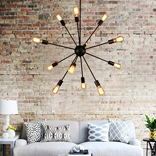 Sputnik Chandelier, Naturous 12 Lights Pendant Lighting, Painted Black Modern Sputnik Light, UL Listed (Sputnik Pendant)