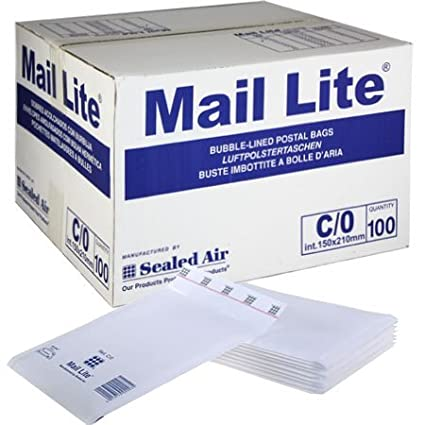 100 x C/0 White Mail Lite Padded Envelopes, Bubble Wrap Lined Mailers Sealed Air