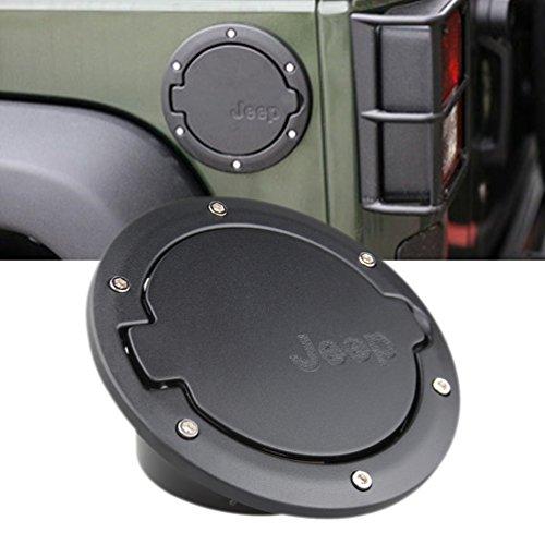 Black Fuel Filler Door Cover Gas Tank Cap 4-Door 2-Door for 2007-2016 Jeep Wrangler JK & Unlimited by SUNPIE