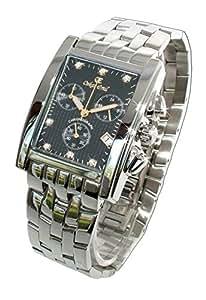Oskar Emil Rodez - Reloj de Lujo Cronógrafo para Hombre, Acero Inoxidable Con 7 Diamantes Esfera Negro