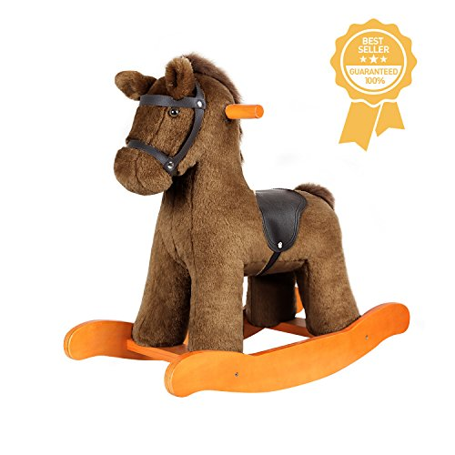 labebe Child Rocking Horse Toy, Stuffed Animal Rocker Toy, Brown Knight Horse Rocking Plush for Kid 1-3 Years, Wooden Rocking horse Set/Outdoor Rocking Toy/Small Rocking Horse/Modern Rocking Horse - Childs Rocking Horse