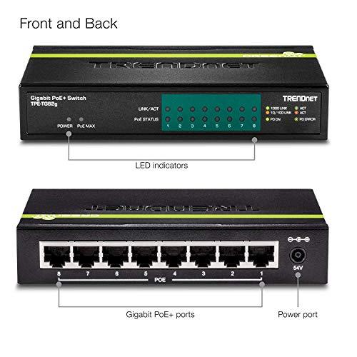 TPE-TG44G 4 x Gigabit PoE//PoE+ Ports 4 x Gigabit Ports 61 Watt Total Power Budget Up to 30 Watts//Port 16 Gbps Switching Capacity TRENDnet 8-Port Gigabit GREENnet PoE+ Switch