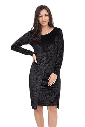 Womens Cocktail Party Bodycon Dress Ladies Crushed Velvet Midi Romper Dresses. UK 10-16: Amazon.co.uk: Clothing