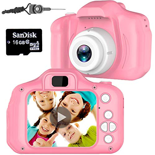 Micoo Kid Camera for Girls or Boys Age 3-10, Anti-Drop Toddler Digital Camera with Soft Silicone Shell and 8 Mega Pixel Dual Lens 2.0 inch HD Screen with Mic and16GB Memory Card (Best Toy Camera For Toddler)