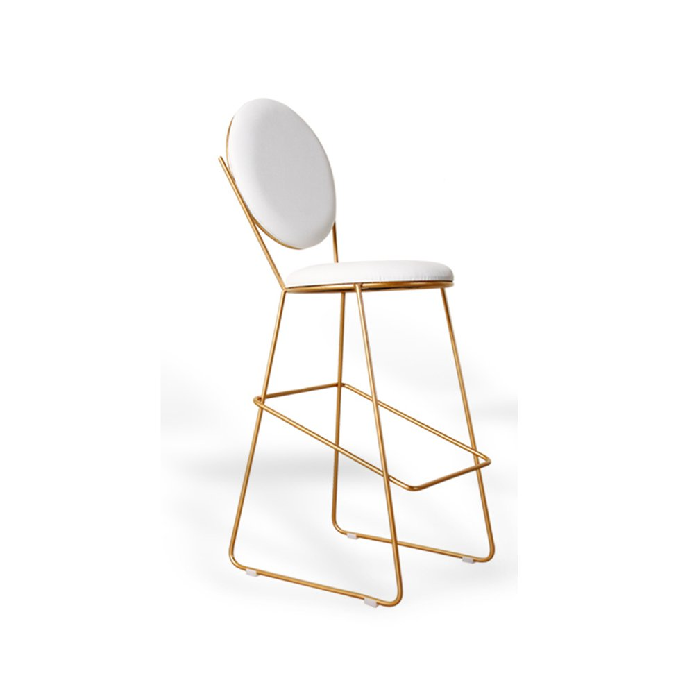 YANFEI 現代的な丸いバーの椅子コーヒーショップレストラン手作りの鉄の余暇の背中の椅子 (色 : 白) B07FJMX5M3白