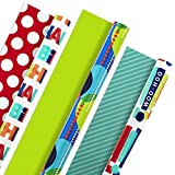 Hallmark Reversible Birthday Wrapping Paper (Pack of 3, 120 sq. ft. ttl.) Bright Balloons, Happy Birthday, Polka Dots: more info