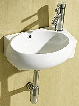 Small Compact Cloakroom Basin Bathroom Sink Round Offset