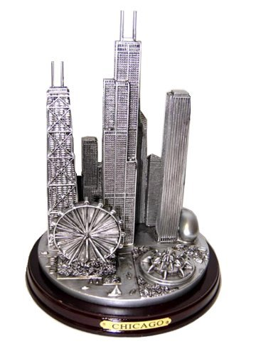 - Chicago Skyline Pewter-look Extra Large Paperweight Souvenir