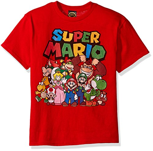 Nintendo Little Boys Super Mario Character Group Shot Graphic T-shirt, Red, YS