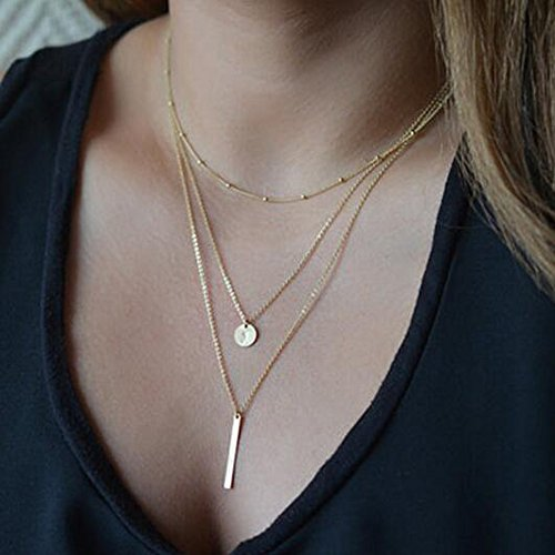 FXmimior Multilayer Necklace 3 Tier Pendant Long Chain Women Jewelry (gold)