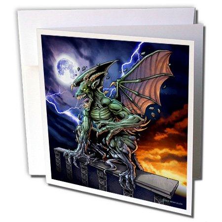 3dRose dark, Gargoyle, Illustration - Gargoyle sitting on a pedestal lighting and the moon - 12 Greeting Cards with envelopes (Gargoyle Lighting)