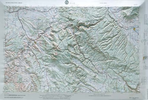 Relief Map in the states of Colorado and Utah with Black Plastic Frame (Colorado Raised Relief Map)