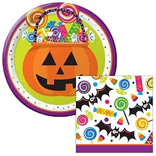 [Gone Batty Halloween Themed Dessert Napkins & Plates Party Kit for 8] (Hocus Pocus Halloween Costumes)