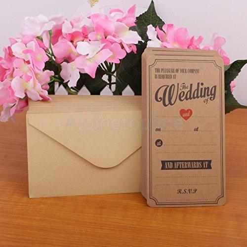 50pcs Brown Kraft Wedding Evening Invitations Celebration Occasion Envelopes - Celebration Envelopes