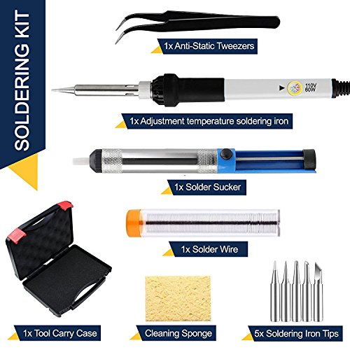 Magento's Superb 12 Pieces Set Adjustable Temperature Soldering Iron Kit 60w - 110v - With 5 Bonus Tips in Various Sizes + Bonus Solder Wire + Tweezer + Stand + Case]