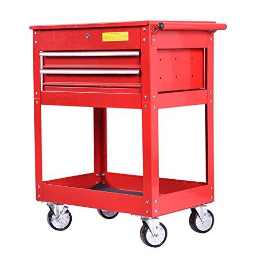 Slanted Speaker Cabinet (Metal Rolling Tool Cart 2 Drawer Cabinet Storage ToolBox Portable Mechanic Lock)