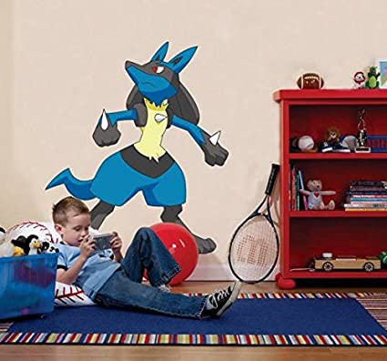 Amazon com lucario pokemon decal wall sticker home decor art kids c363 large home kitchen