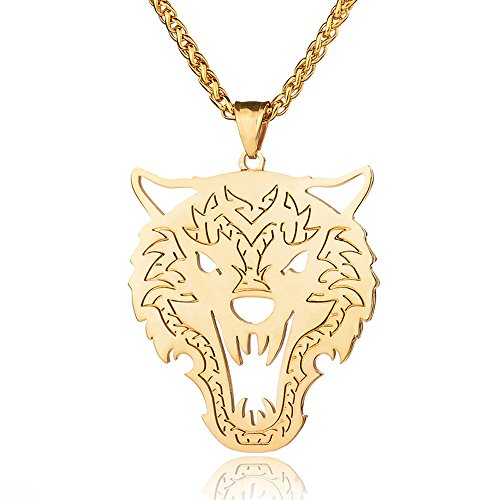 Copper Wolf Head Necklace for Mens Military Style Dog Tag Pendant Jewelry (Gold)