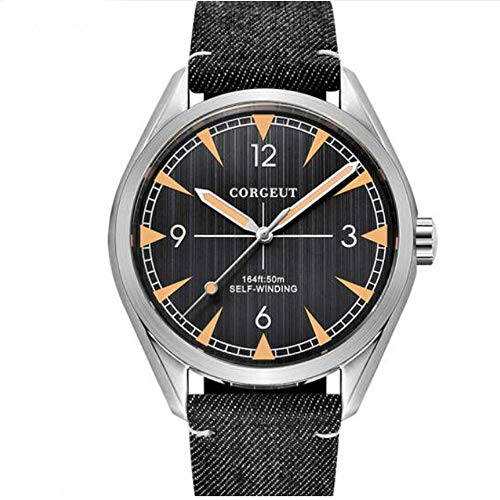(Corgeut 41MM White Dial Luminous Marks Sapphire Glass 3ATM Water Resistance Stainless Steel Band Miyota 821A Self-Winding Movement Men's Wrist Watch (Model-9))