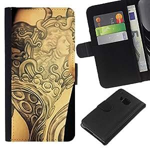 Planetar® Modelo colorido cuero carpeta tirón caso cubierta piel Holster Funda protección Para HTC One M9 ( Tinta del tatuaje del arte de cuerpo de la diosa antigua Brazo )