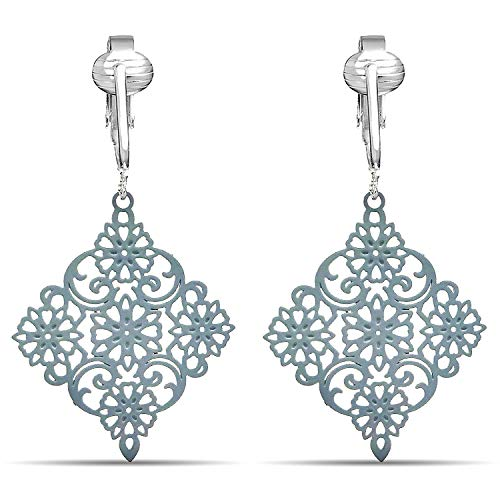 (Lovely Victorian Filigree Clip On Earrings for Women Clip-ons, Lightweight Teardrop Leaf Dangle (Grey Drop))