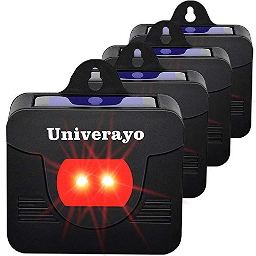 (Univerayo Pack of 4 Deer Repellent Device Coyote Deterrent Solar Powered Predator Light Repels Nocturnal Animal Fox Rabbit Coyote Raccoon Skunk Predator Control Lights Repellent - Upgraded Version)