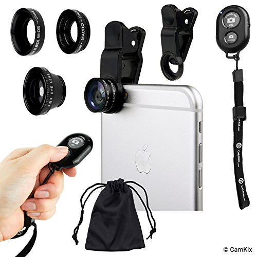 Universal 3in1 Camera Lens and Bluetooth Shutter Remote Kit for Smartphones, Including Bluetooth Camera Shutter Remote, Fish Eye, 2in1 Macro and Wide Angle, Lens Clip